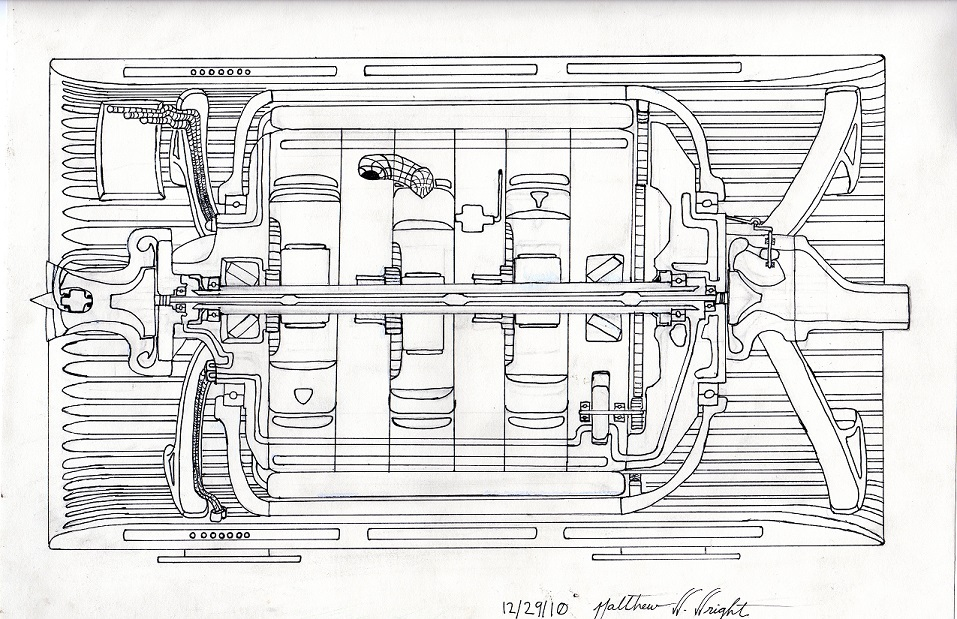 Above is an original hand drawing of the CATRE-I concept intended for electrical power generation only.  This concept is unmatched for size, scalability, smoothness of operation and most importantly power density.