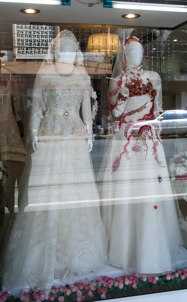 Store window of a Muslim wedding studio, Nakhon Si Thammarat City