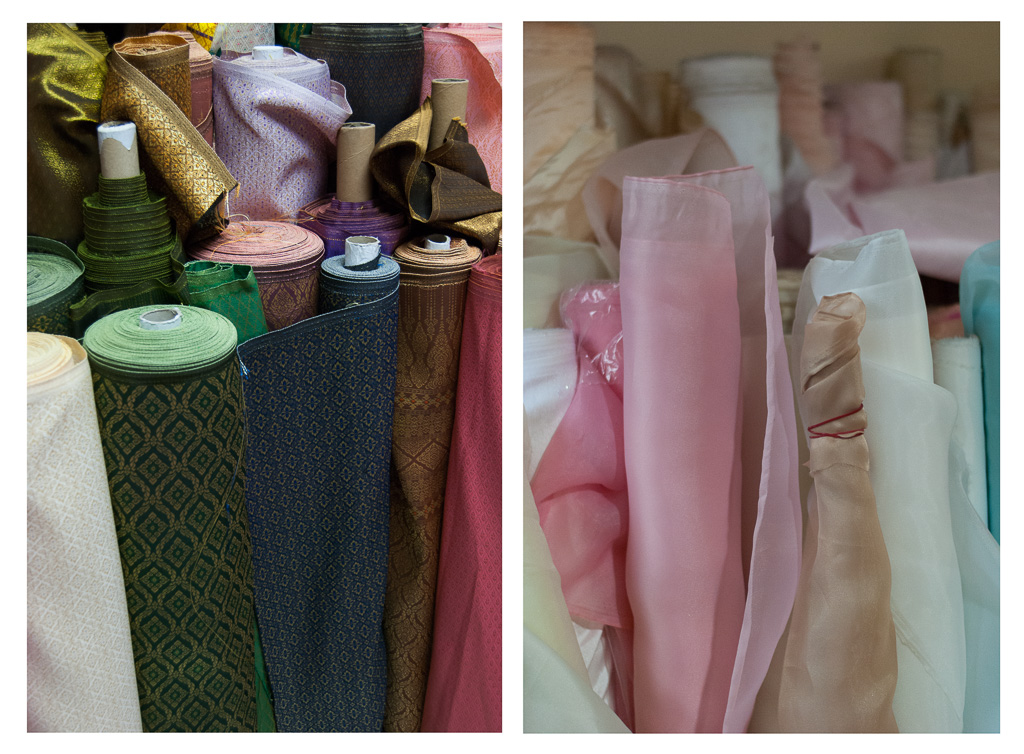 Rolls of Thai silk versus fabric for white gowns, Chokdee Fabric Shop, Nakhon Si Thammarat City
