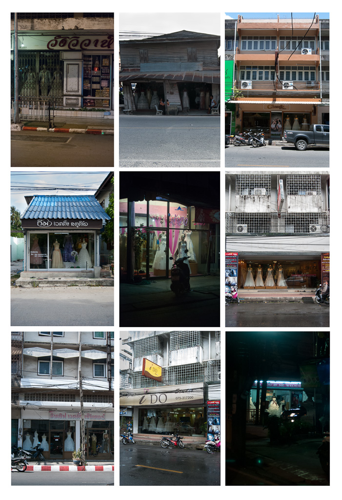 Thai wedding studios store fronts, Nakhon Si Thammarat City, Thasala, and Phuket