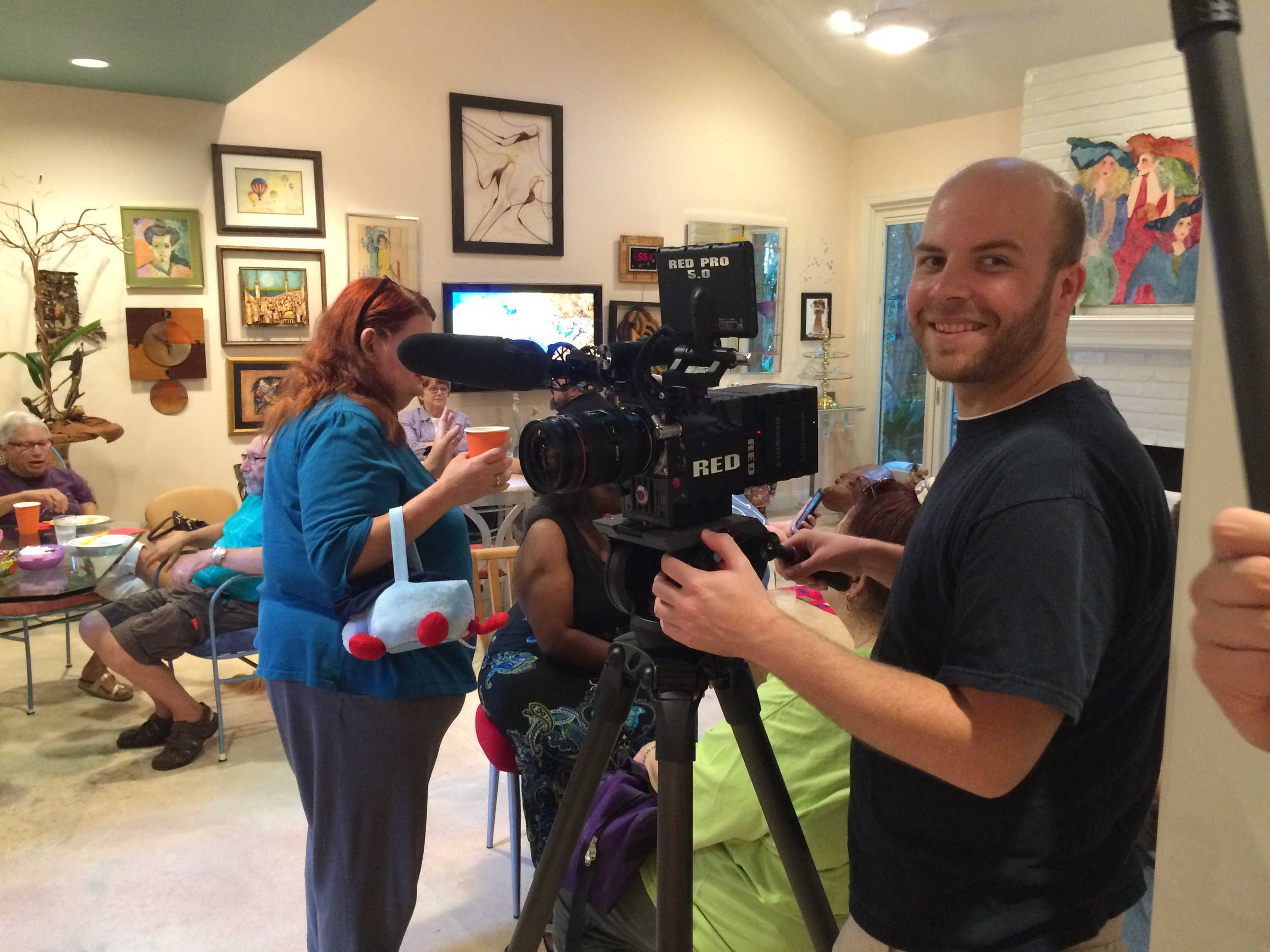 Filming at Sue's house in Houston.