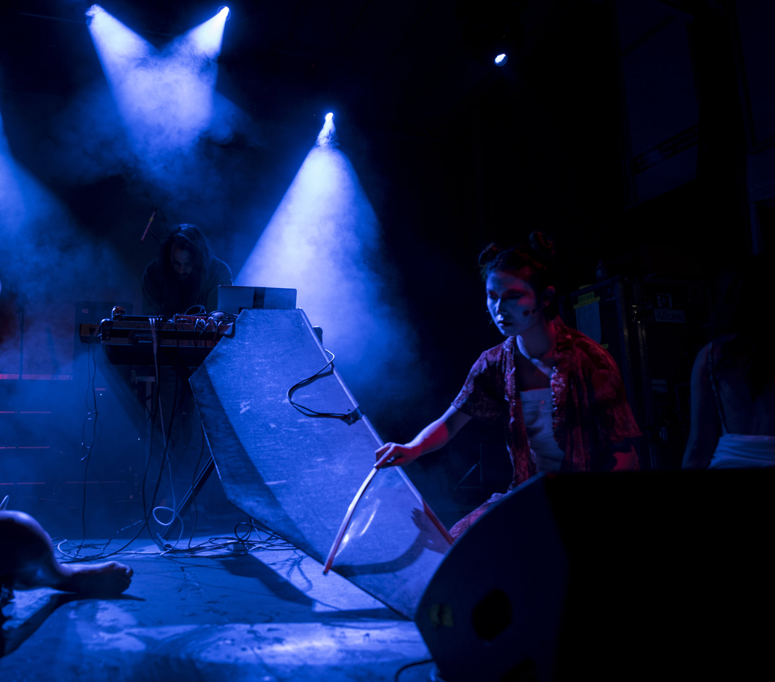 MELTASIA MUSIC FESTIVAL  (Sound & Dance, 2016)  The collaborative sound performance included voice, live sampling, death cry whistles, and contact microphones placed onto a piece of found sheet metal.