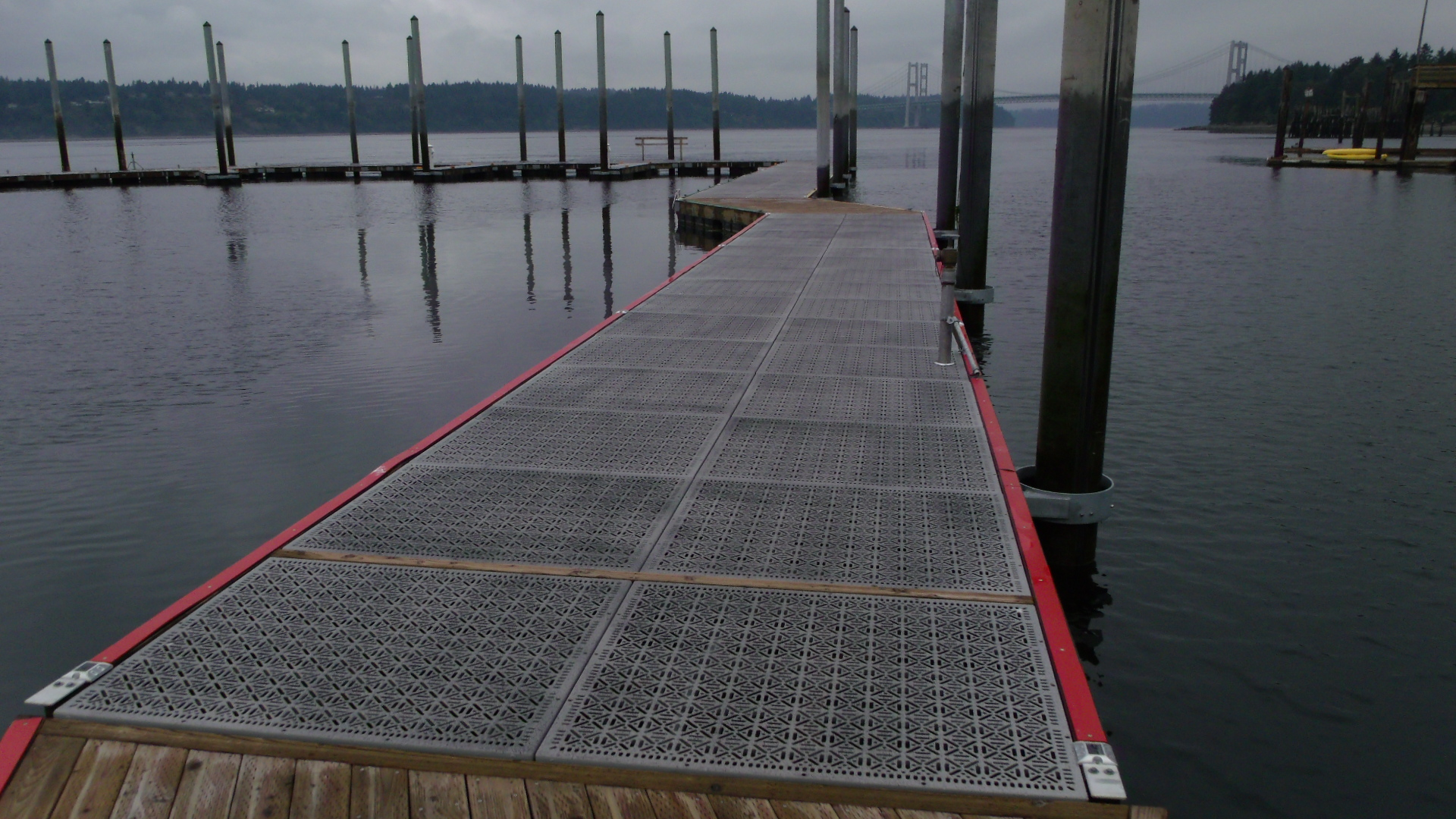 Narrows Marina Tacoma, WA. Eco Series Steel Dek Grey with Black Texture. Designed and Constructed by Rush Commercial.