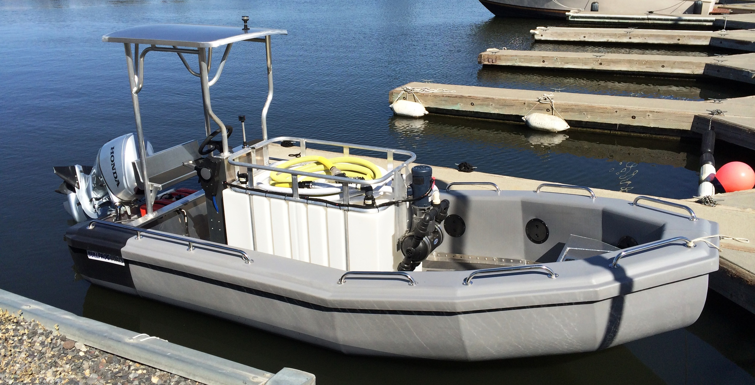 Ice Harbor Marina Takes Delivery of their New Bullfrog Pump Out Boat just in time for Memorial Day Weekend.