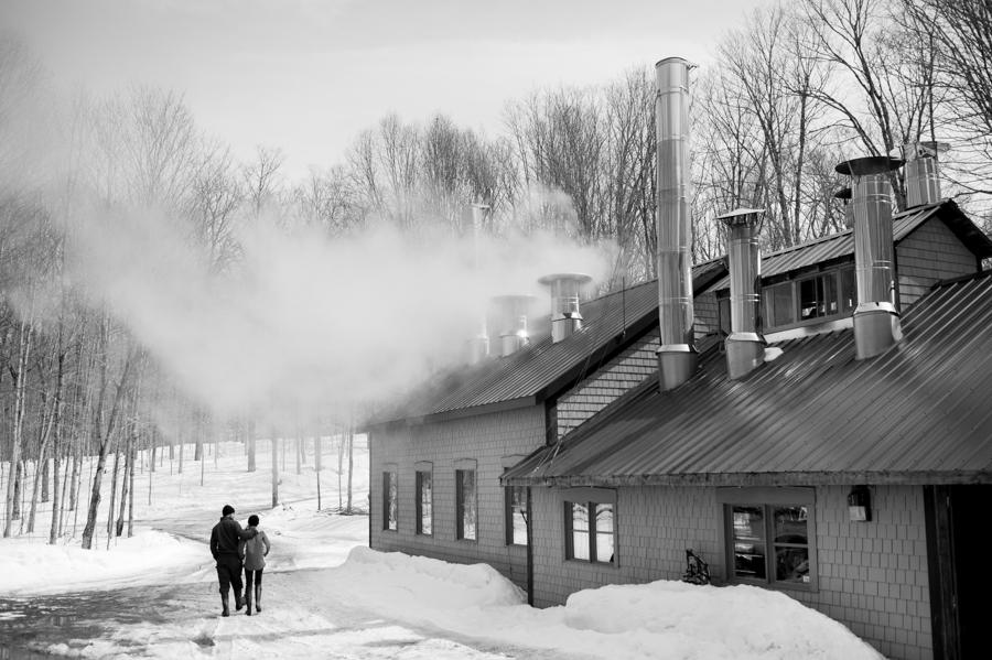 Boiling sap at the sugar camp