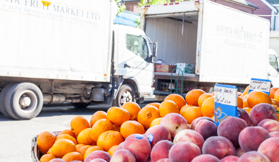 Fresh fruits and veggies pile up on Delivery Truck Mondays in Kensington Market.