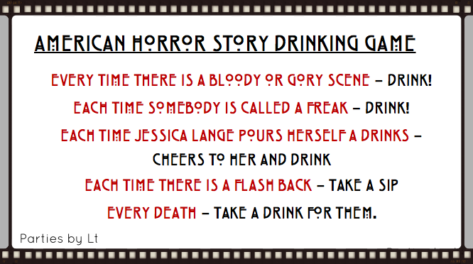 American Horror Story Drinking Game