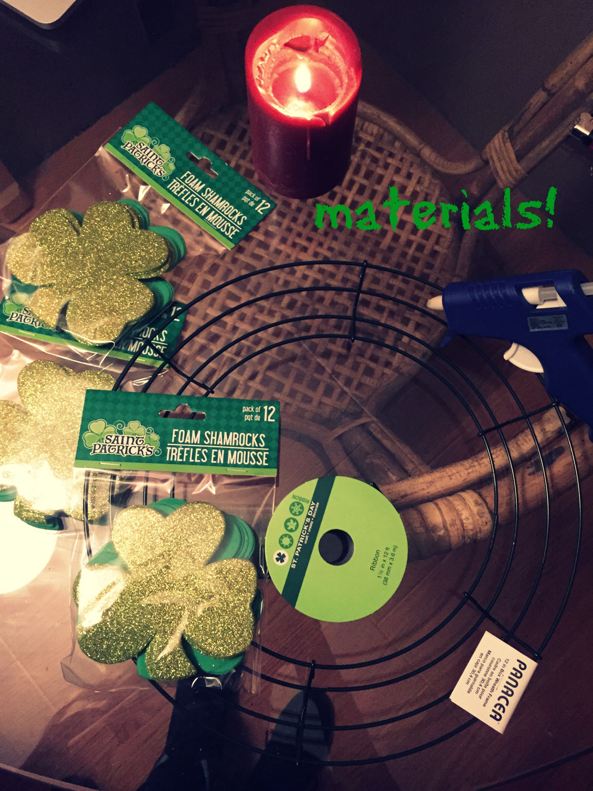 DIY St. Paddy's Day Wreath Materials