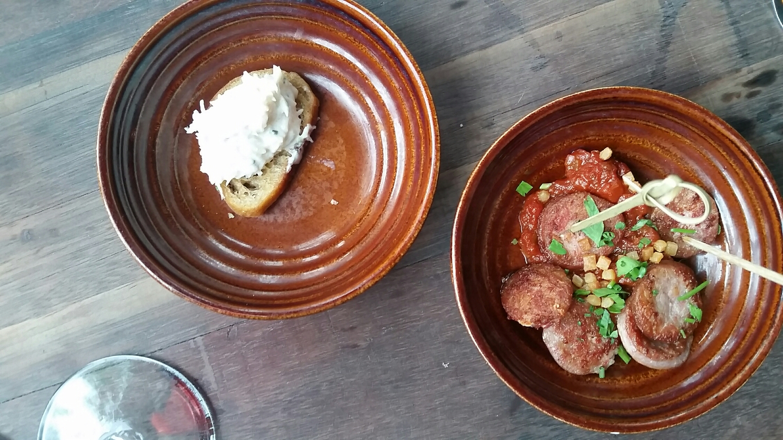 Crab Crostini and Sausage with Tomato