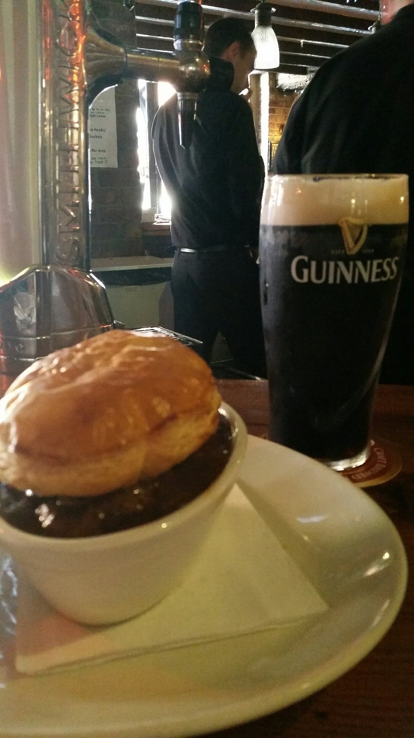 Irish beef shepards pie. Covered with a big flaky puff pastry. Then of course a Guinness to wash it all down.