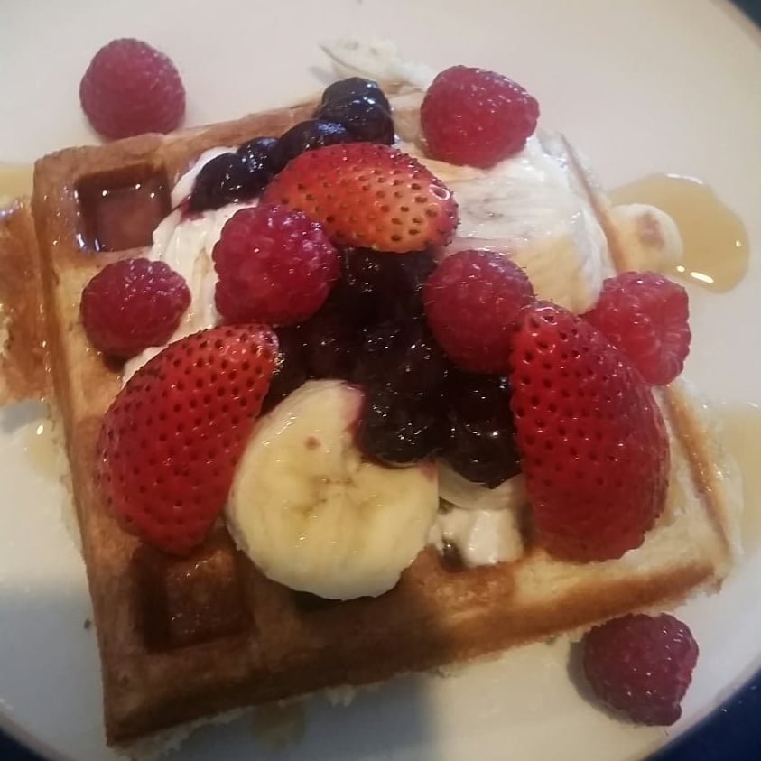 A fruity waffle creation from the waffle bar, perfect for a celebratory brunch!