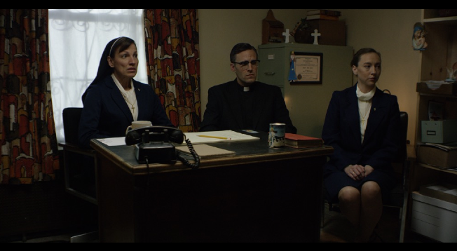 From left to right: Milica Govich Vukasovich as Sr. Margaret, Jonathan C. Stewart as Bishop Thomas Gumbleton, Alysia Kolascz as Sr. Elizabeth.