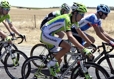 In action during Stage 1 of Tour Down Under
