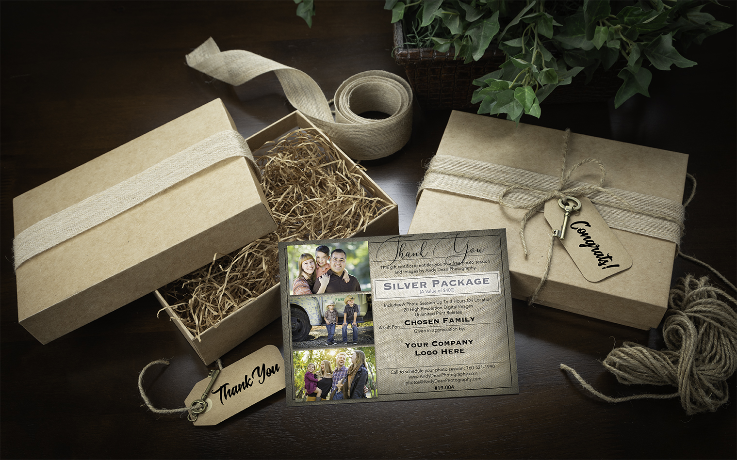 Photo Session Gift Certificates can promote your company name and logo to feature your brand identity.