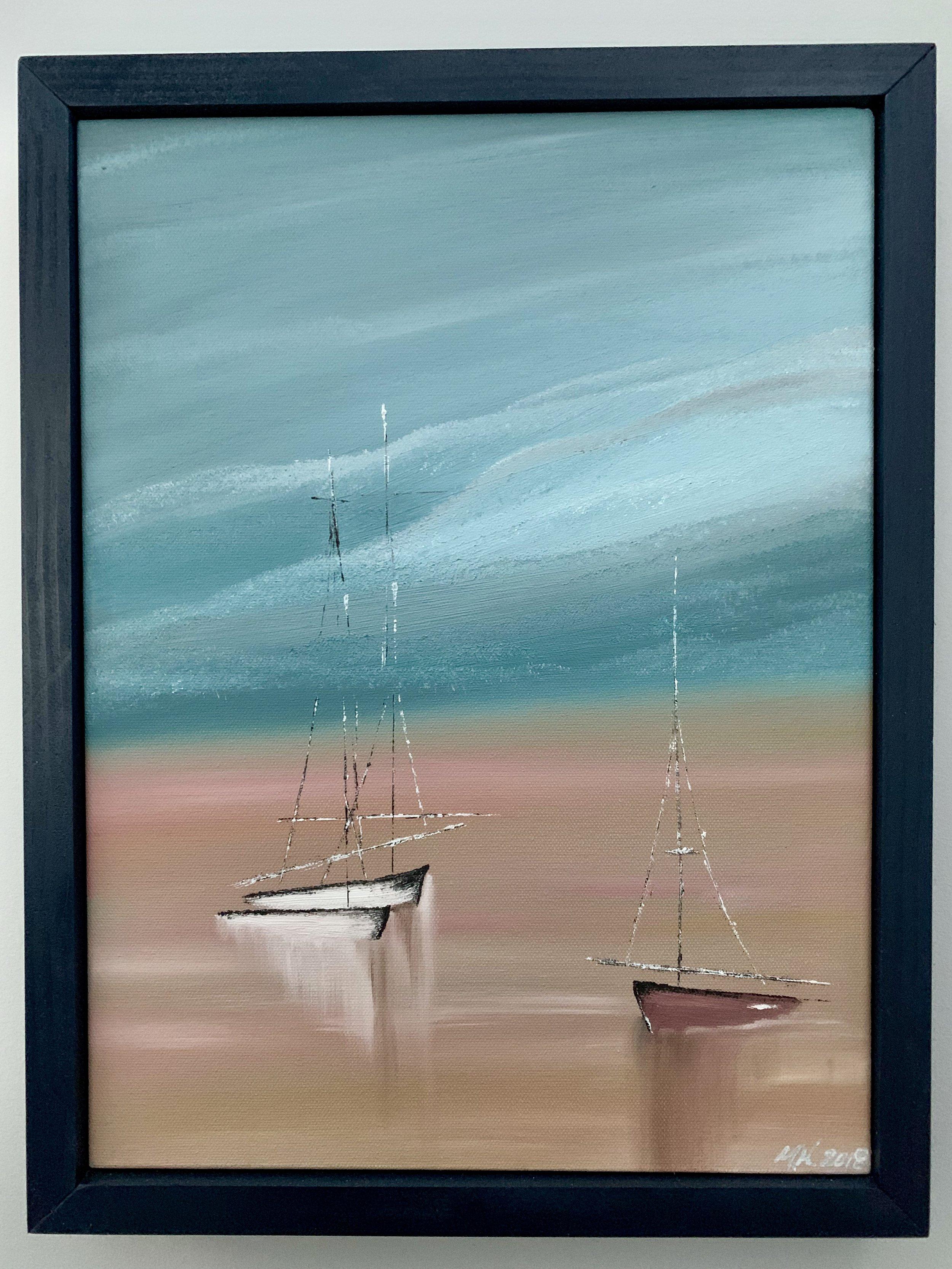 Beached Sailboats (custom frame)