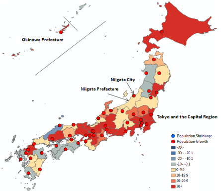 Map 1 . Population Change in Japan by Prefecture and Prefectural Capital City in Percent, 1950–1990. Source: National Population Census, Various Years.