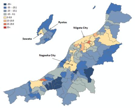 Map 4 . Population Change in Niigata Prefecture by Municipality in Percent (2000 boundaries), 1990 (Actual) to 2010 (Projected). Source: Higashide (2008); Niigata ken (2009);  Niigata ken Website .