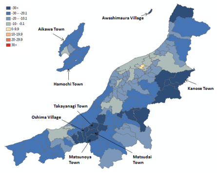 Map 5 . Population Change in Niigata Prefecture by Municipality in Percent (2000 Boundaries), 2010 (Projected) to 2030 (Projected). Source: Higashide (2008); Niigata ken (2009);  Niigata ken Website .