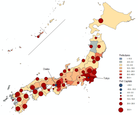 1970-90: Consolidation  Map 7 . Population Change in Japan by Prefecture and Prefectural Capital City in Percent, 1970–1990. Source: National Population Census, Various Years.