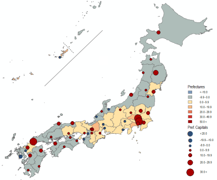 1990-2010: Stagnation Map 8 . Population Change in Japan by Prefecture and Prefectural Capital City in Percent, 1990 (Actual) to 2010 (Projected). Source: National Population Census, Various Years;  NIPSSR .