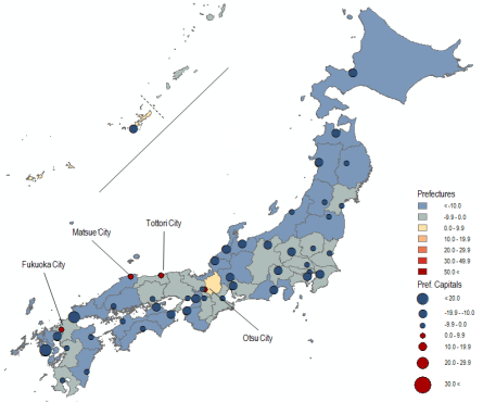 2010-30: Shrinkage? Map 9 . Population Change in Japan by Prefecture and Prefectural Capital City in Percent, 2010 to 2030 (Projected). Source: National Population Census, Various Years;  NIPSSR .