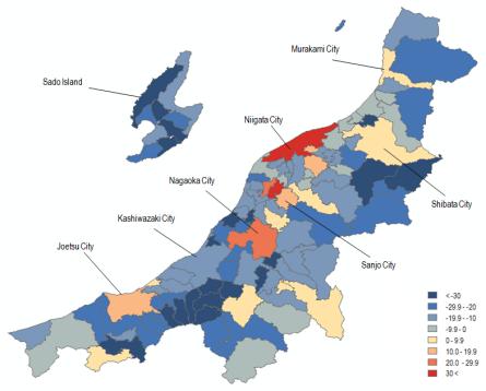 Map 10 . Population Change in Niigata Prefecture by Municipality in Percent (2000 Boundaries), 1950–1970. Source: Higashide (2008); Niigata ken (2009);  Niigata ken Website .