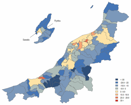 Map 12 .Population Change in Niigata Prefecture by Municipality in Percent (2000 boundaries), 1990 (Actual) to 2010 (Projected). Source: Higashide (2008); Niigata ken (2009);  Niigata ken Website .