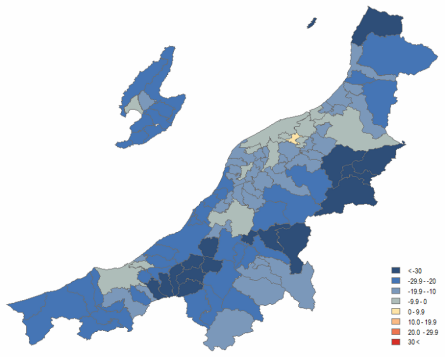 Map 13 . Population Change in Niigata Prefecture by Municipality in Percent (2000 Boundaries), 2010 (Projected) to 2030 (Projected). Source: Higashide (2008); Niigata ken (2009);  Niigata ken Website .