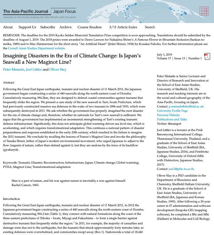 Imagining Disasters in the Era of Climate Change  (The Asia-Pacific Journal: Japan Focus, 2019)