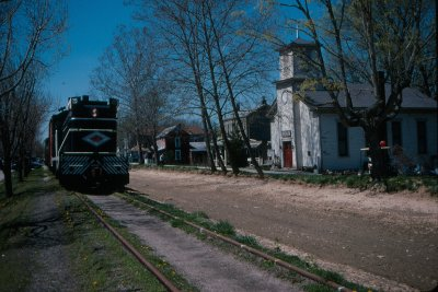 At the former canal town of Metamora, we walked the train through town on normally unused track to get some very unique images downtown.
