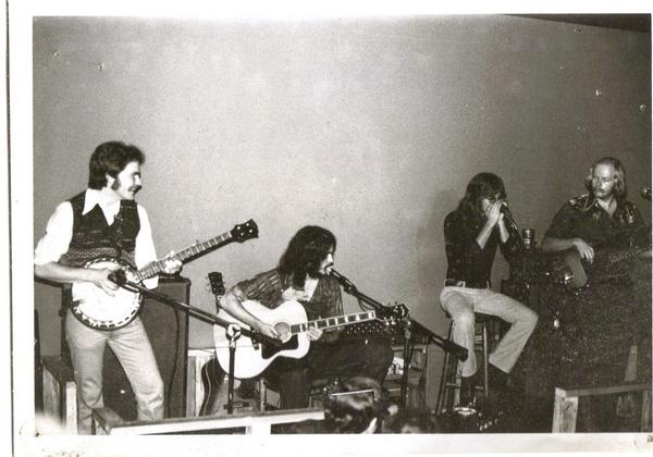 The Legendary  Full Circle Band , at Mississippi Whiskers, 1974---L-R: Rob Jackson, Pete Peterson, J.B.Rudd, David Copeland