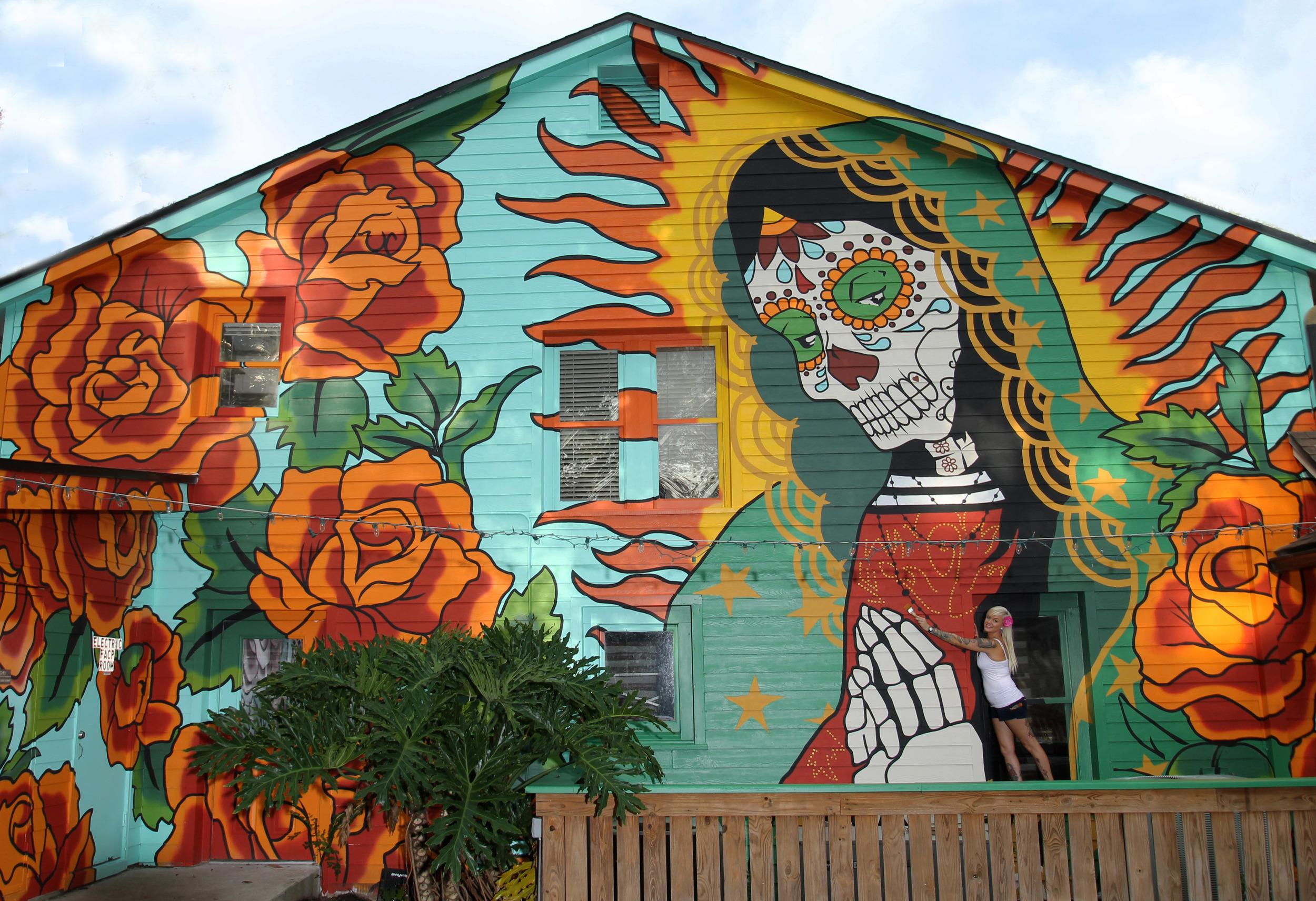 Sugar Skull Guadalupe, August 2012,Exteior Paint, 2 story high building, TacoLu Jacksonville FL, Debbie Nicol.jpg