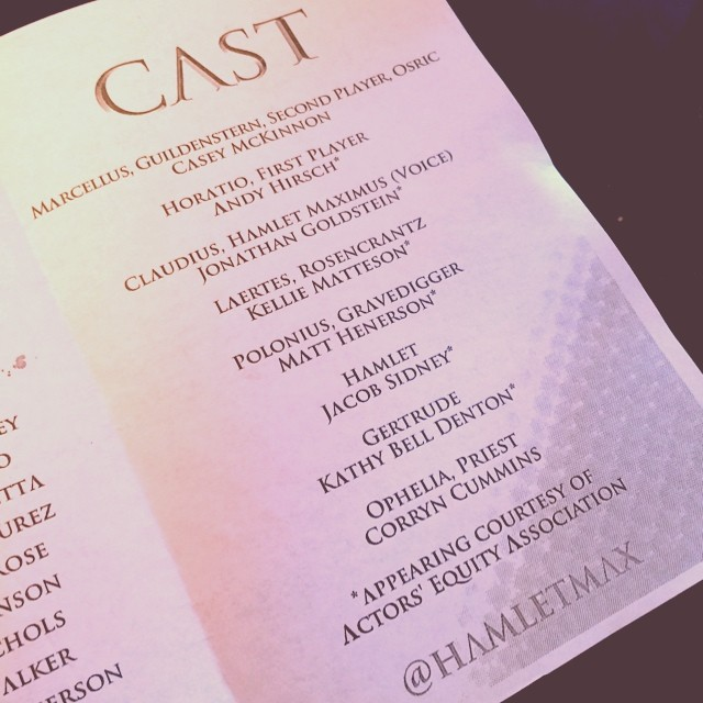 """Look at that!   @caseymckinnon   on top of the cast list of  #hamletmax  . Proud of my love!"" -  @rudyjahchan on Instagram"