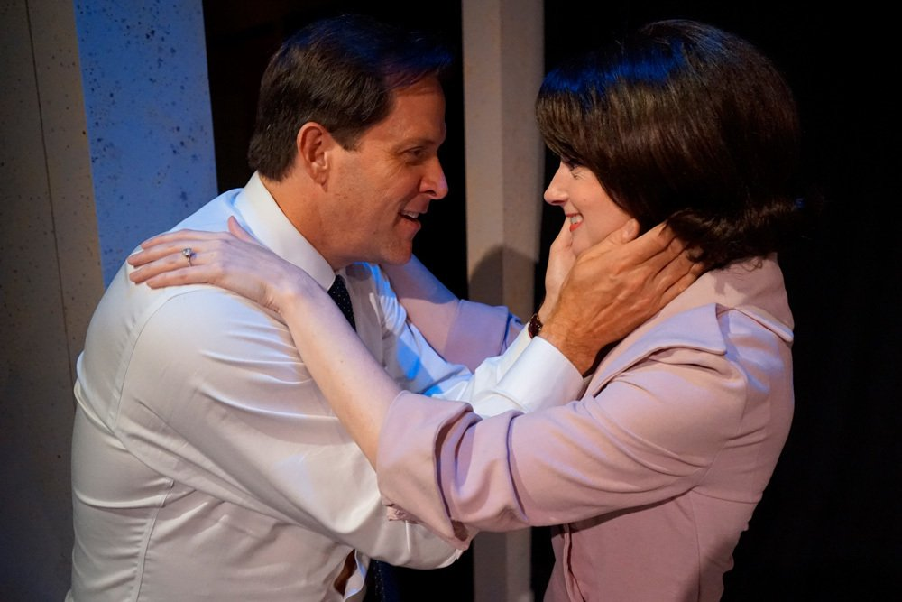 BroadwayWorld LA Award nominated actors  Ford Austin  and  Casey McKinnon  in  The Tragedy of JFK (as told by Wm. Shakespeare) . Photo courtesy of Rick Baumgartner
