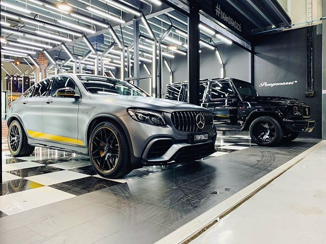 GLC 63s or a blacked out Brabus 700 G Wagon?  Both stunning but which is quicker?  sales@vogueindustries.com for enquiries.  #vigueindustries #mercedes #glc63s #glc63 #g63amg #brabus700 #brabus #brabus #clean #showroom #prepbay #ppf #paintprotection #amg #realquartz #glasscoating #detailingbay #detailingstudio #pomponazzi #pomp #teampomp