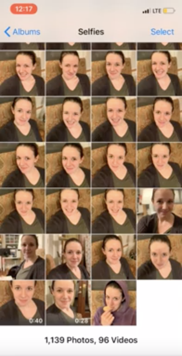 Screen recording of me going through my selfie video  to choose the one best selfie frame!