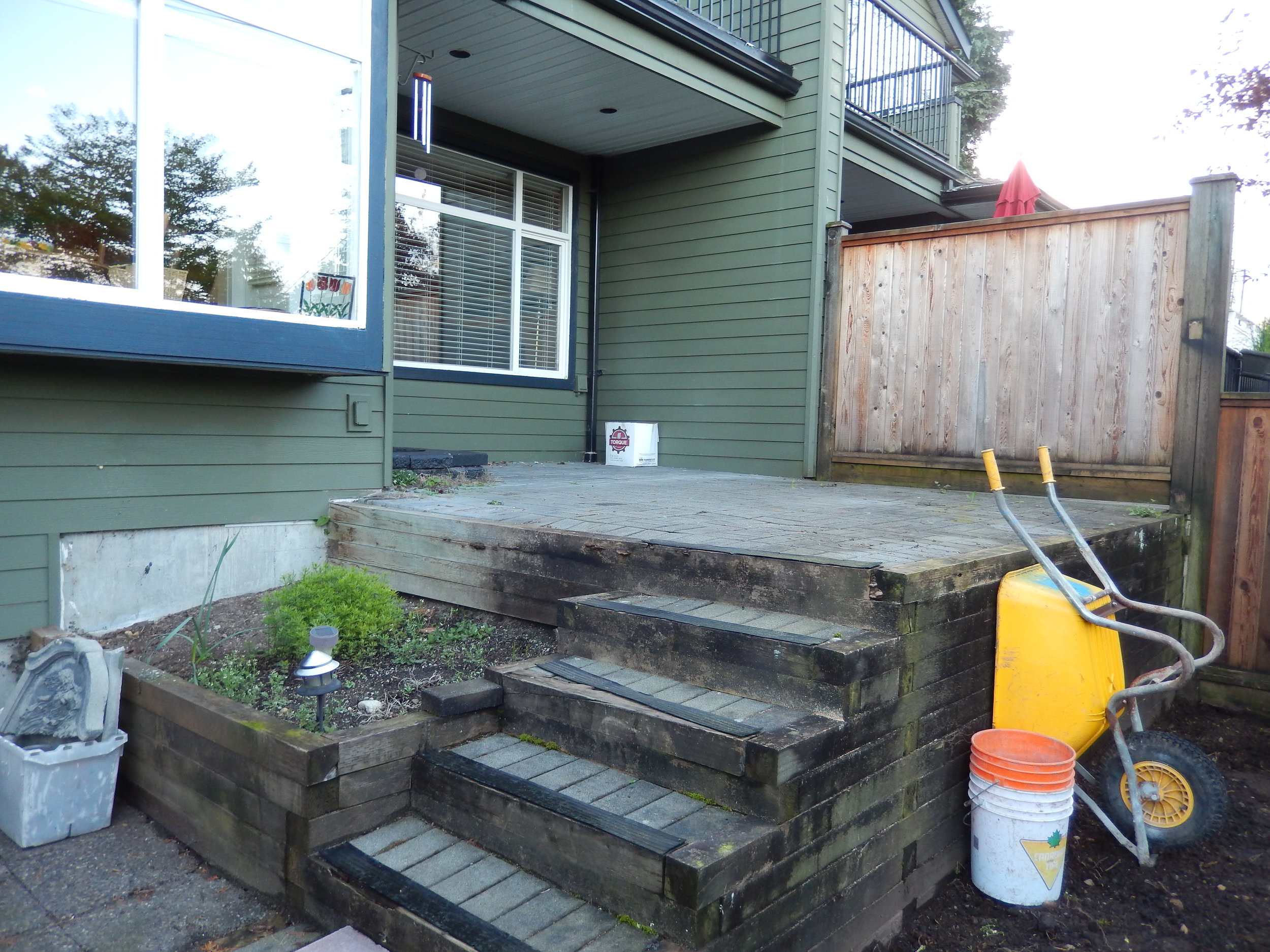 Previous patio was brick. It had started to loose shape and the wood was rotting.