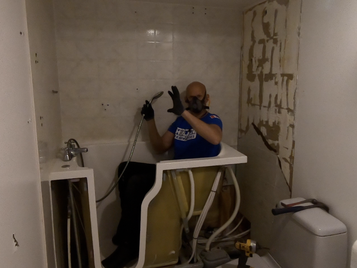 Joe with one final use of the old shower