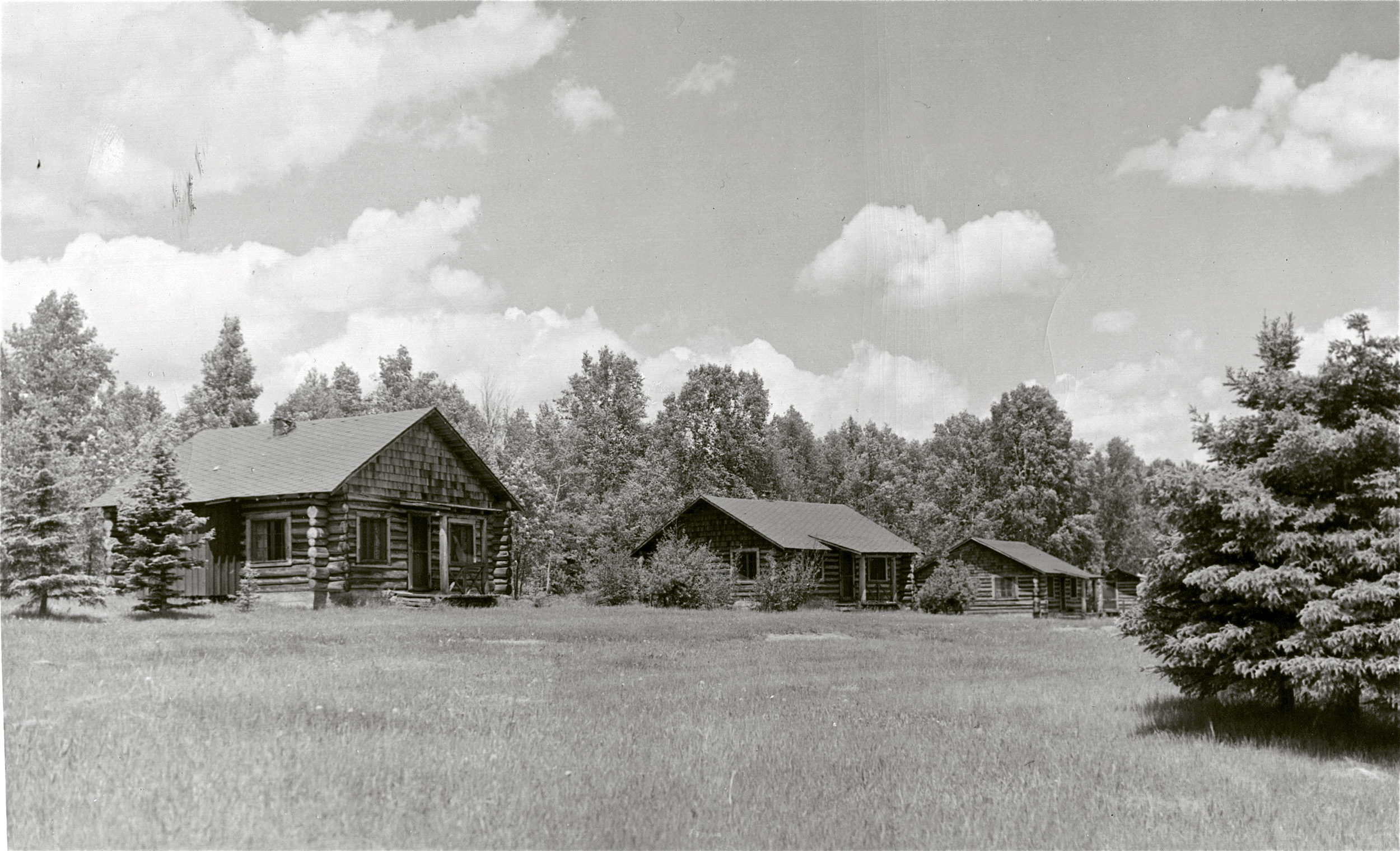 Cabins 7, 6, 5, and a glimpse of 4, circa 1955