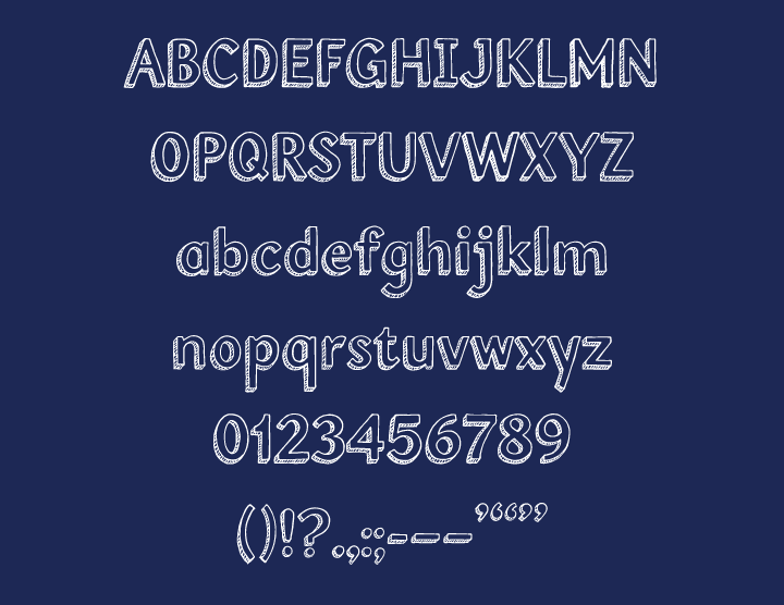 Full alphabet and figures in custom font ( Inside Voice )