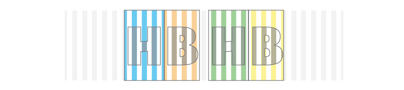 The H and B on the right are the alternate forms of the of the H and B on the left. Notice that the stripes are completely flipped. These show the actual stripe placement from TextTile which are shifted half a stripe's width to the left. This was done to improve pattern placement within the letter. The boxes help show the bounds of the letters.