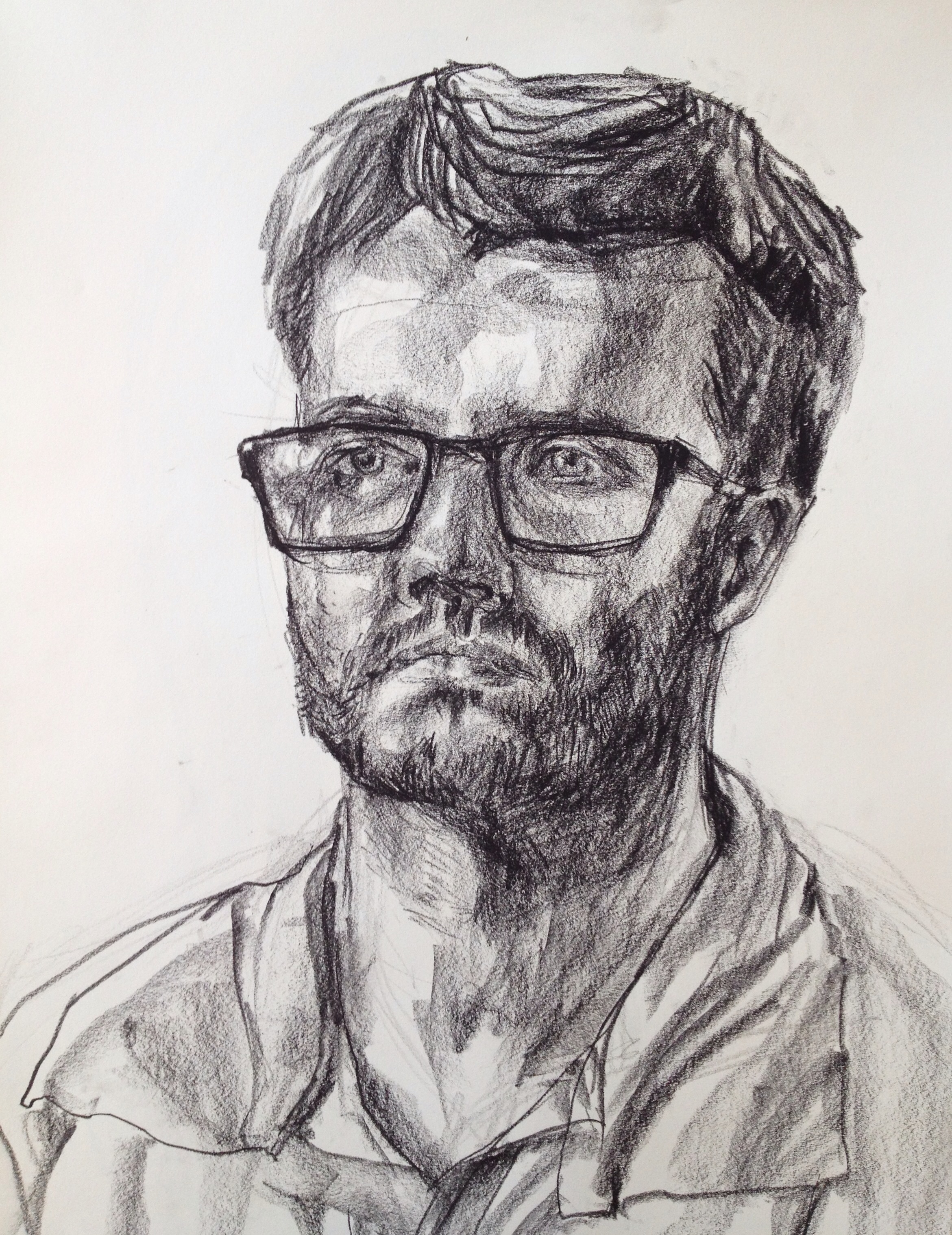 "Dan is a Geologist  (And Secretly, A Pro Violinist), 20-minute live drawing, 18""x24"""