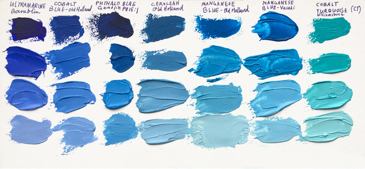 Above is a comparison of all the blue paints available on the market, with the addition of Genuine Manganese Blue. (For genuine Manganese, see the columns 2nd and 3rd from the right). All samples are mixed with Williamsburg Flake White.