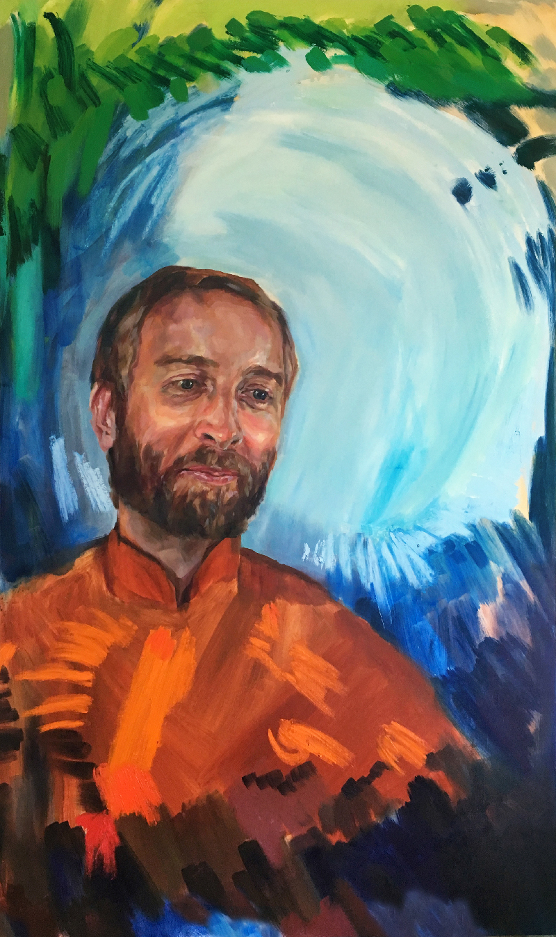 """St. Gregory of Nyssa, 35"""" x 60"""" Oil on Panel, by Melissa Carmon"""