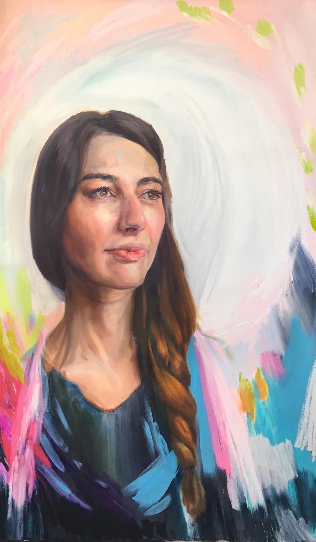 "St. Felicitas, 35"" x 60,"" Oil on Panel, by Melissa Carmon"