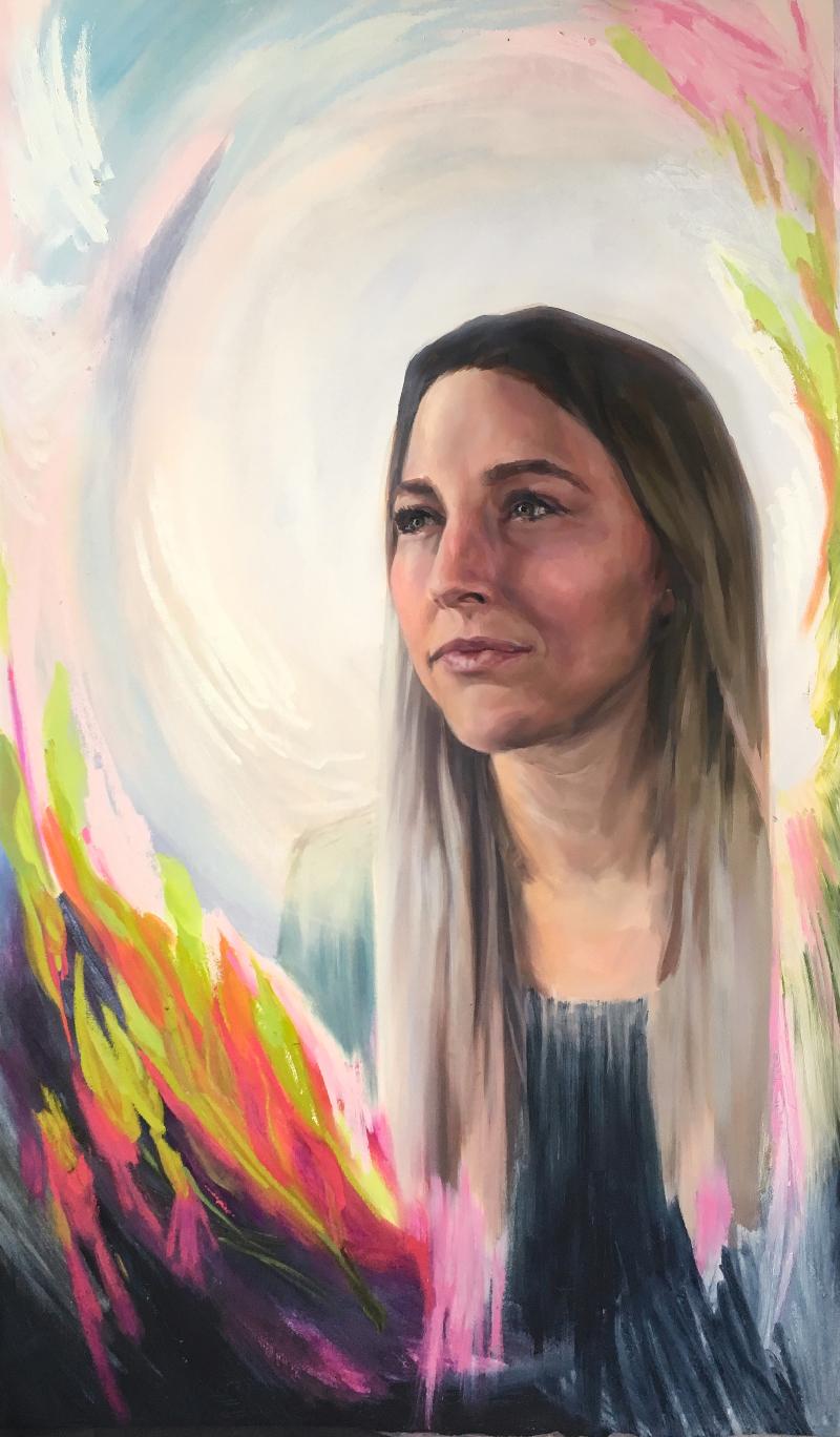 "St. Perpetua, 35"" x 60,"" Oil on Panel, by Melissa Carmon"