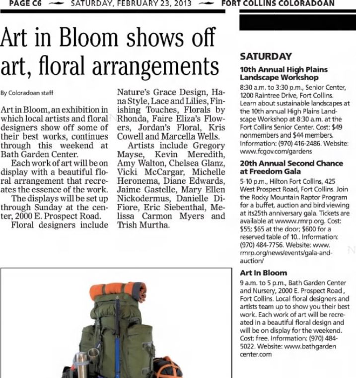 Melissa Carmon Art In Bloom Show, 2013, Fort Collins Coloradoan.  Available on  Newspapers.com
