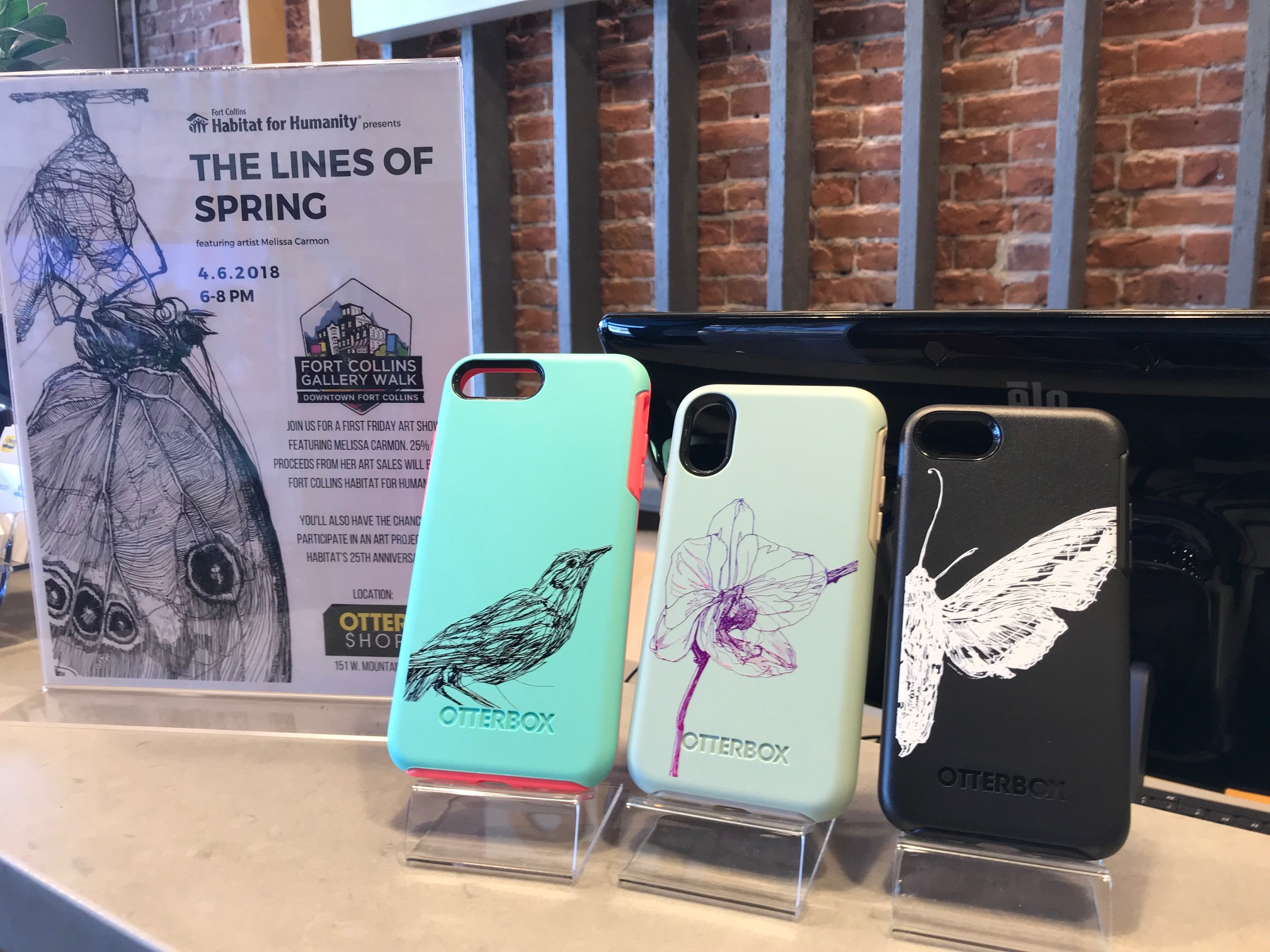 The Lines of Spring- Print show and art pop-up on April 6, 2018. Art by Melissa Carmon engraved on Otterbox phone cases
