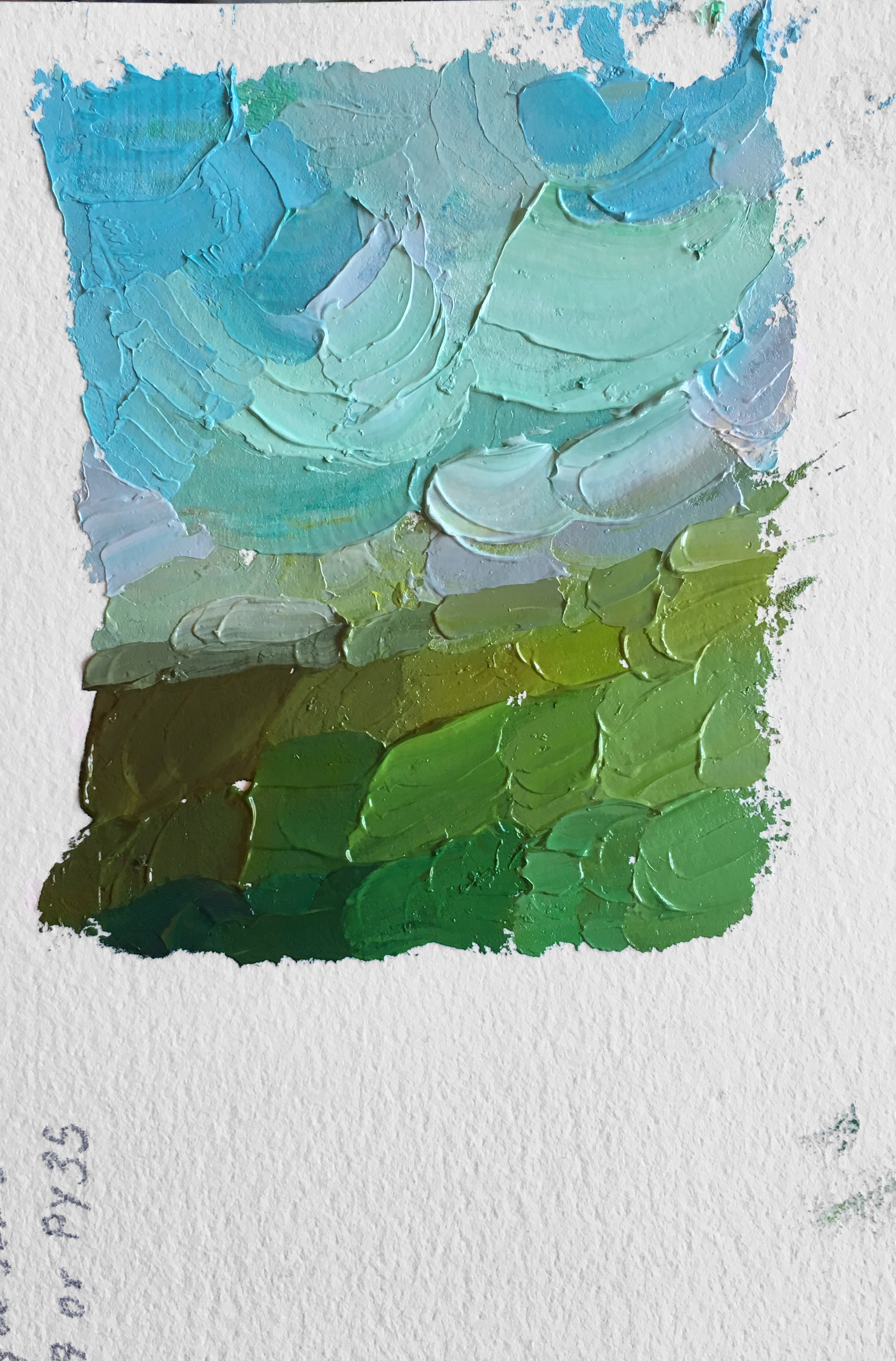 "Color Study in Green, 3.5"" x 3"" Oil on Arches Oil Paper, by Melissa Carmon"