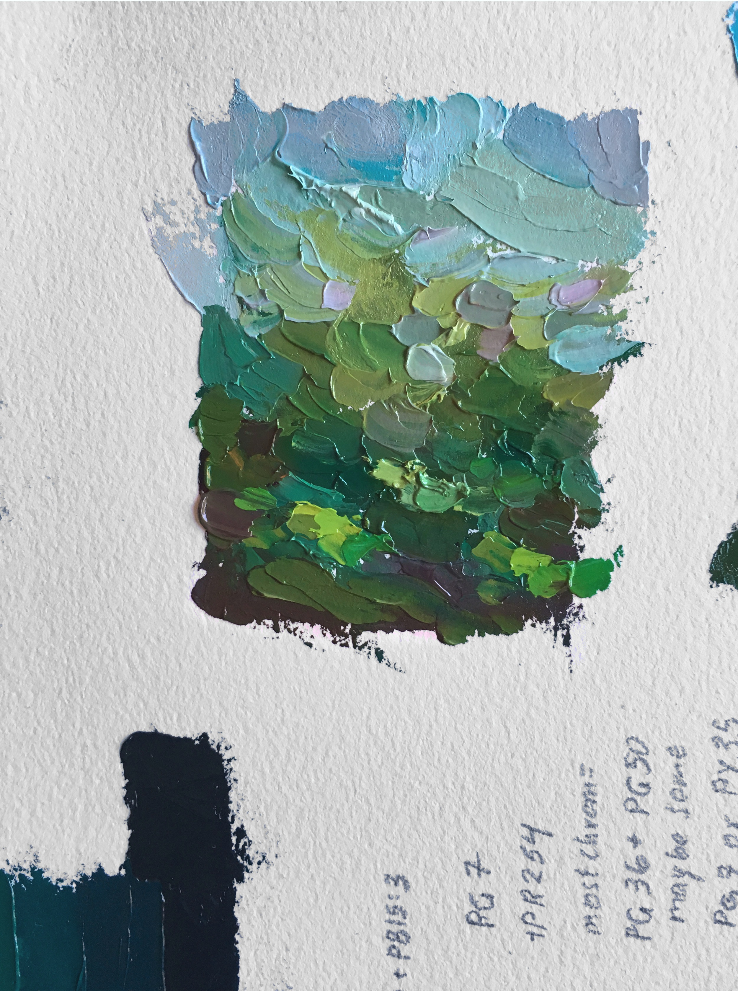 "Color Study in Green, 3"" x 2.5"" Oil on Arches Oil Paper, by Melissa Carmon"